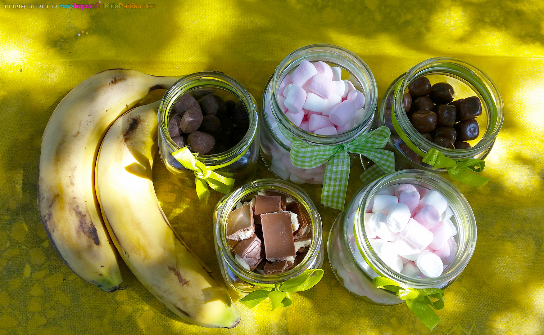 בננה עם שברי שוקולד ומרשמלו