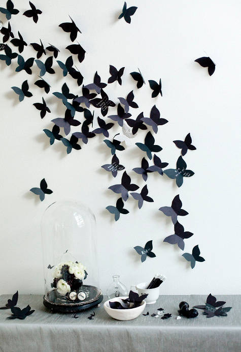 עיצוב מסיבה בשחור ולבן - פרפרים