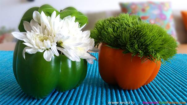 פרחים בפלפלים ובדלעת ערמונים