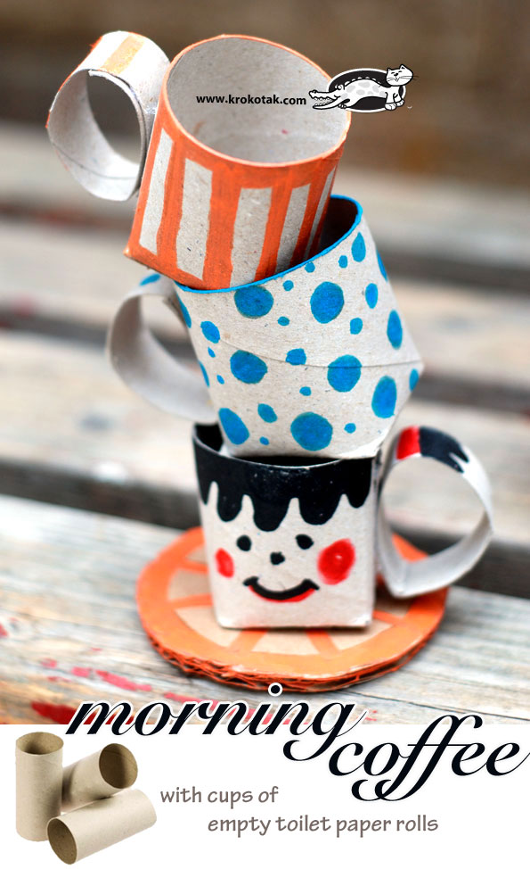 יצירה בגלילי נייר - כוסות תה
