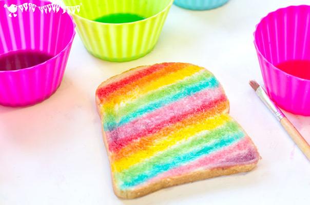 כל צבעי הקשת - ציור על לחם
