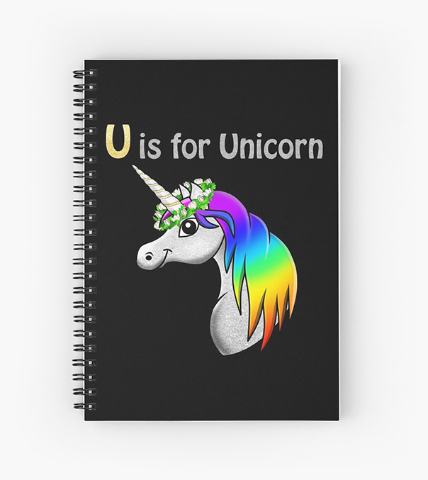 U is for Unicorn - notebook_black