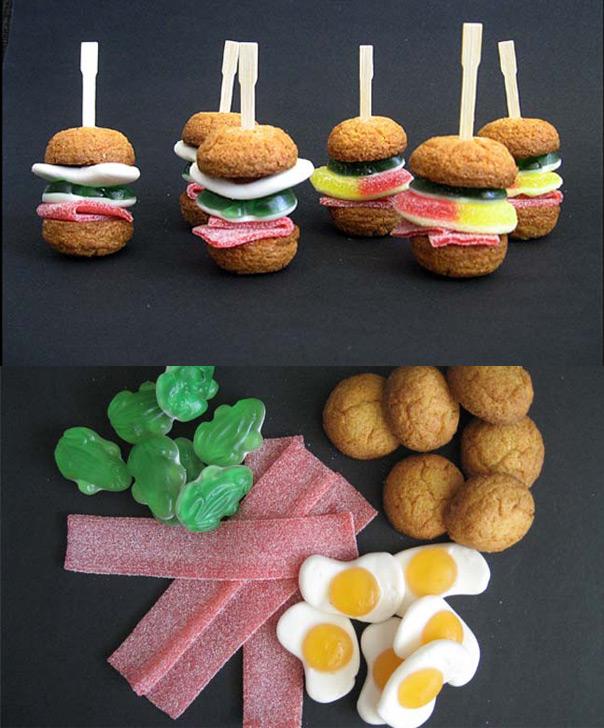 מאכלים מחופשים - המבורגר שכולו עוגיות וסוכריות גומי