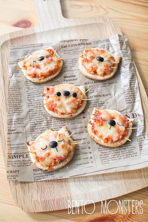 מאכלים מחופשים - פיצה בצורת חתול