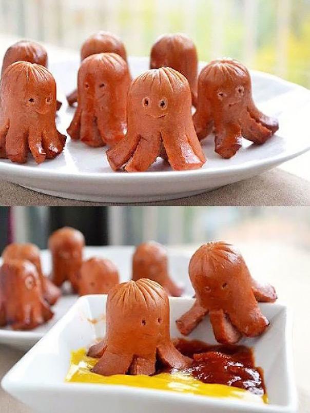מאכלים מחופשים - נקניקיות בצורת תמנון