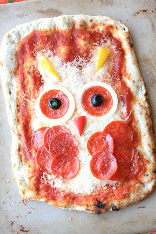 מאכלים מחופשים - פיצה בצורת ינשוף