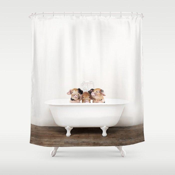 וילון רחצה שלושה חזירונים באמבטיה