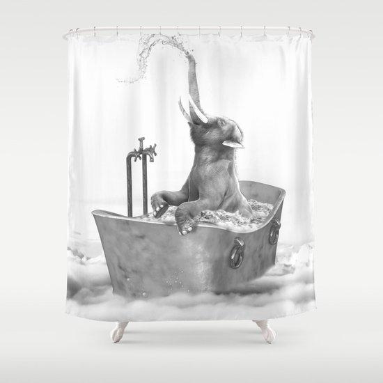 וילונות אמבט בשחור לבן - פילון