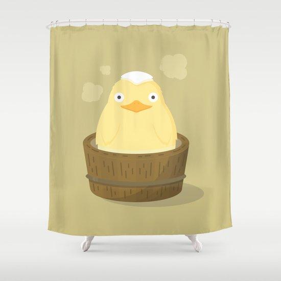 וילון אמבט ברווזון גומי צהוב בגיגית