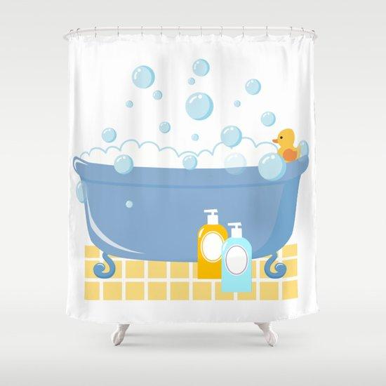 וילון אמבט ברווזון גומי צהוב באמבטיית קצף