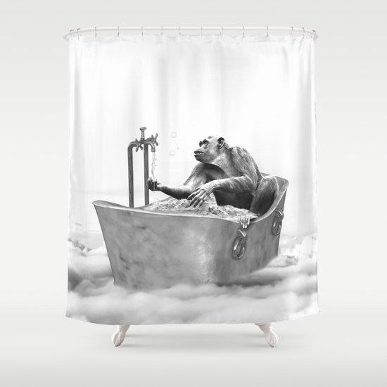 וילונות אמבט בשחור לבן - שימפנזה