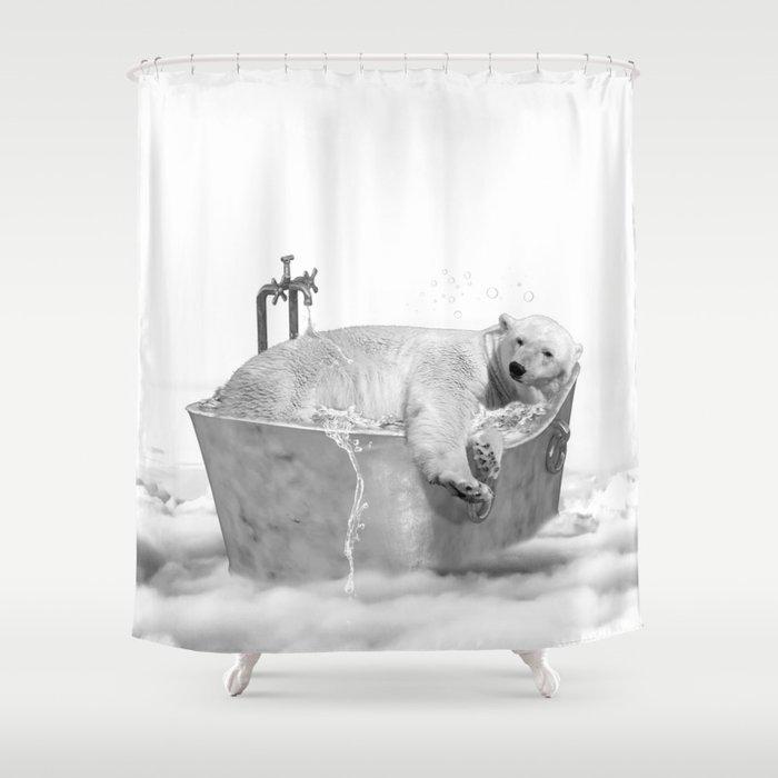 וילונות אמבט בשחור לבן - דב קוטב