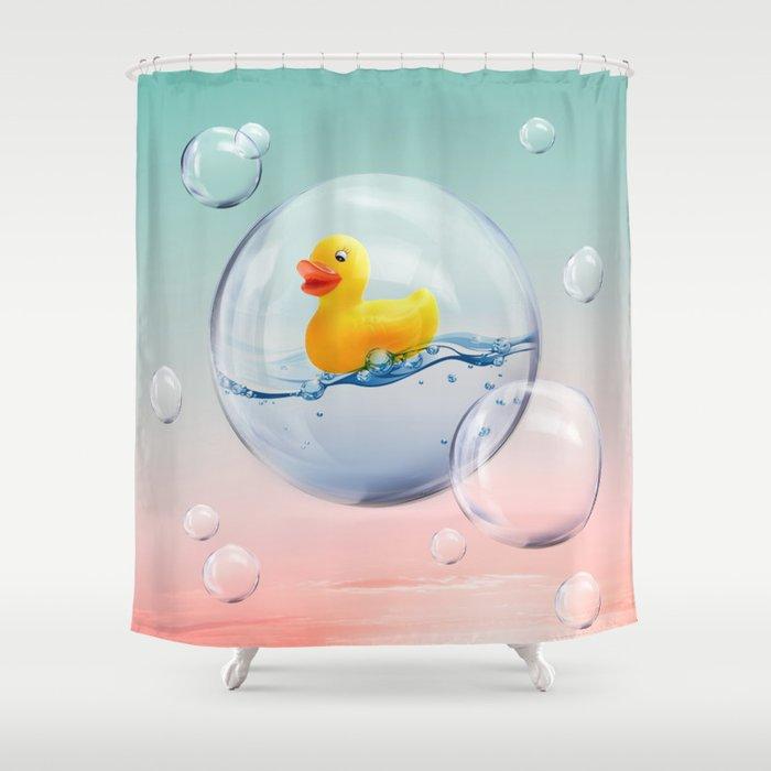 וילונות אמבט מקוריים - ברווזון גומי בבועות סבון