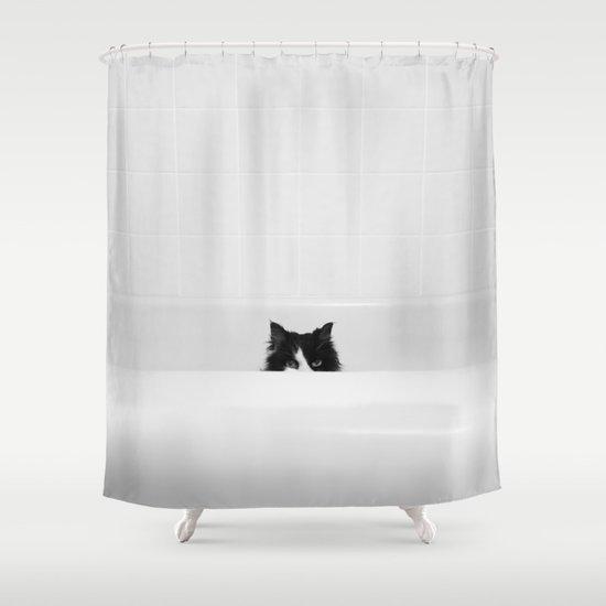וילון אמבט חתול שחור לבן