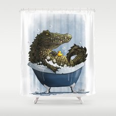 וילונות אמבט מקוריים - תנין עם ברווזון גומי