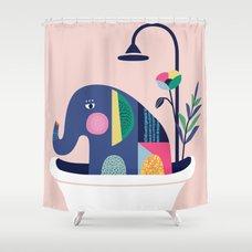 וילונות רחצה מקוריים - פיל באמבטיה